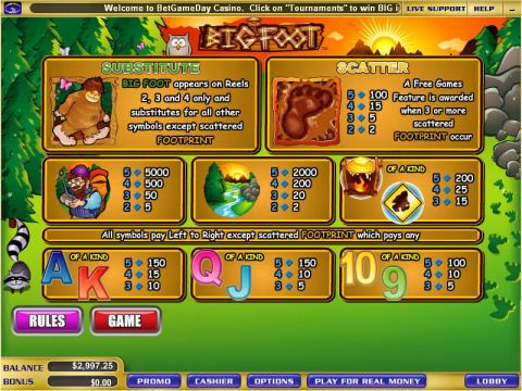 Big Foot Real Slot made by WGS Technology